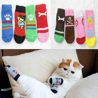 4pcs High Quality Winter Warm Socks Cotton Anti-slip Cute Nice Knit For Pet Dogs