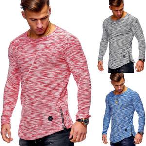 Herren-Pullover-Feinstrick-Zip-Rundhals-Longsleeve-Sweater-T-Shirt-Slim-Fit-NEU