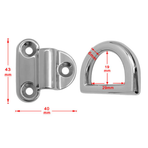 2 Pcs Boat Folding D Ring Tie Down Lashing Point Anchor Fixing Cleat Plate
