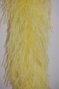 4 Ply OSTRICH FEATHER BOA LIGHT YELLOW 2 Yards; Costumes//Craft//Bridal//Trim 72/""