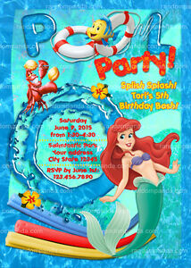 Image Is Loading Little Mermaid Birthday Invitation Pool Party