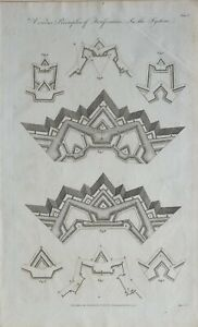 1790-Datierter-Aufdruck-Verschiedene-Principles-von-Fortification-Fort-Diagramm