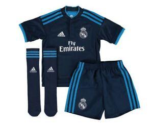 size 40 00d11 a0bdb Details about adidas REAL MADRID JUNIOR MINI THIRD KIT NAVY FOOTBALL KIDS  CHILDREN LA LIGA