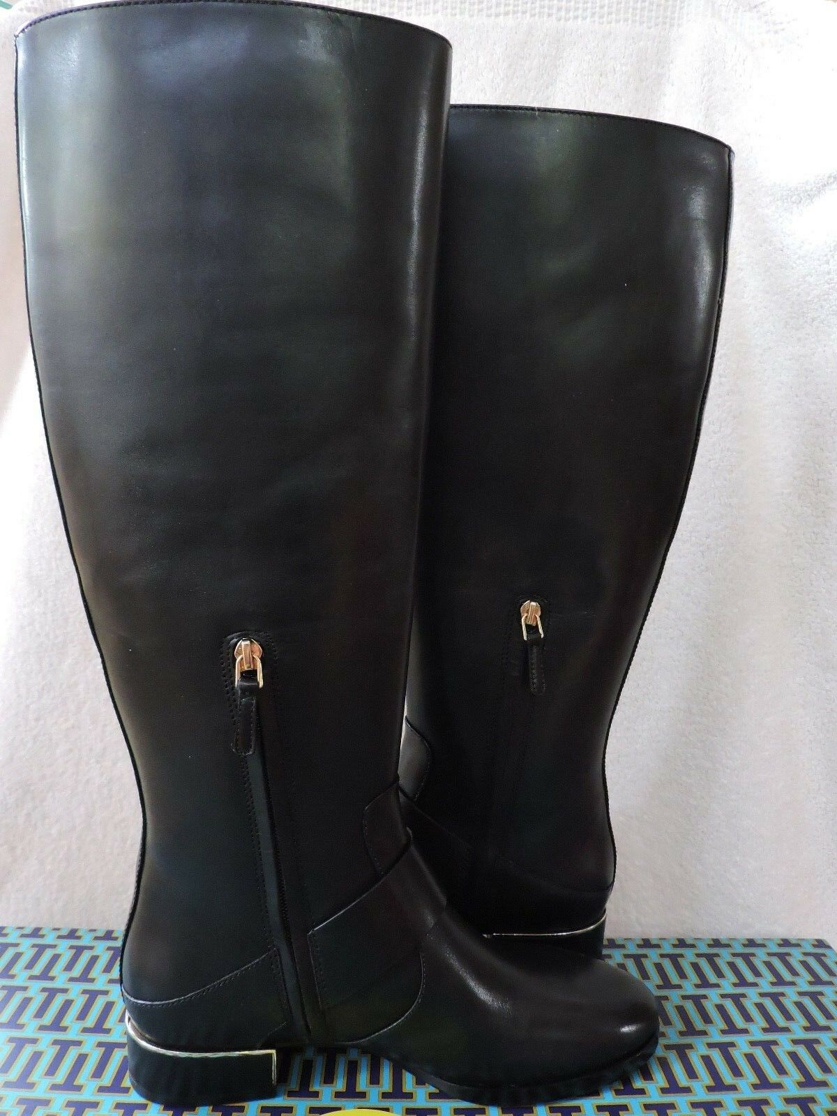 NEW $498 TORY BLACK BURCH SOFIA RIDING BOOT LEATHER KNEE BLACK TORY LOGO 9 19571d