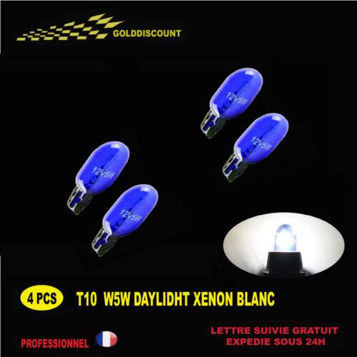 kit 4 t10 w5w  halogene xenon gaz 5000k daylight blanc 12v anti erreur