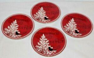 222-Fifth-Northwood-Cottage-Porcelain-Christmas-Red-Apprtizer-Plates-Set-of-Four