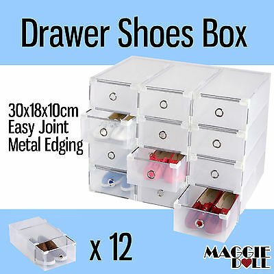 12x NEW Clear Plastic See Through Drawer Shoe Storage Box Metal Edge 30x18x10cm