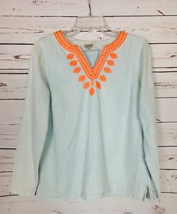 Cremieux-Dillards-Women-039-s-S-Small-Blue-Chambray-Embroidered-Cute-Fall-Top-Shirt