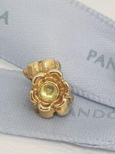 Authentic-Pandora-14ct-Gold-14k-Cabochon-Peridot-Flower-Charm-750343PE