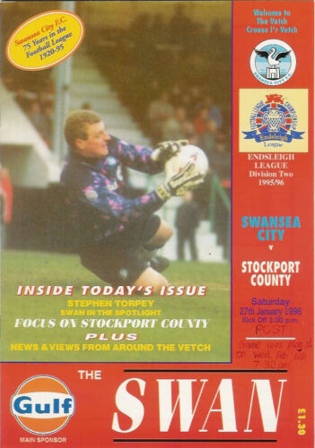 Swansea City v Stockport County 27 Jan 1996 FOOTBALL PROGRAMME
