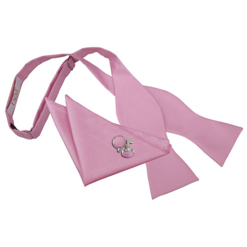 DQT Tissé plaine solide CARREAUX ROSE CLAIR Self Tie Bow tie hanky Cufflinks Set