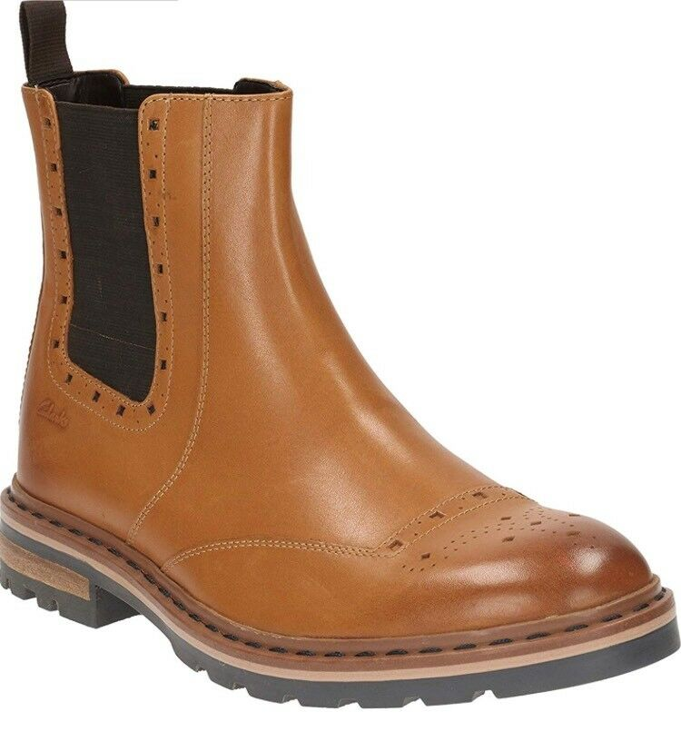 Clark's Men Dargo Top Tan Leather Ankle Boot Size 9.5