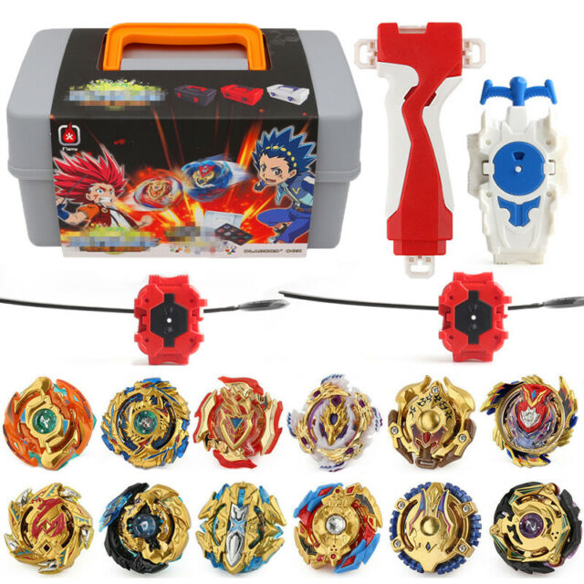 12PCS Beyblade Gold Burst Set Spinning With Grip Launcher+Portable Box Case Gift