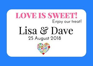 Personalised wedding sweet bags candy cart favour bags Heart thank you love 193
