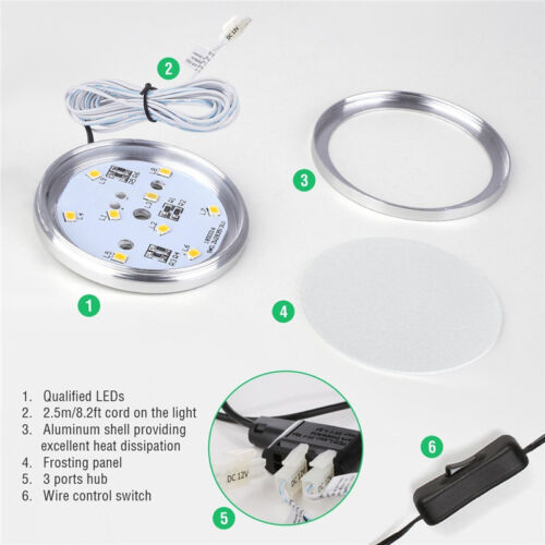 3PCS LED Under Cabinet Light Dimmable Closet Puck Lamp Home Kitchen Fixture Kit