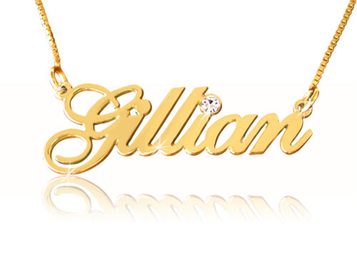 Personalized gold nameplate necklace ANY NAME 14k gold 14 carrot gold necklace