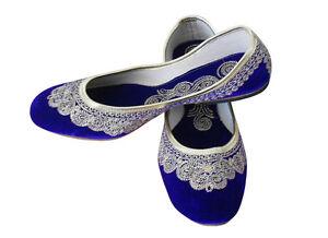 Women-Shoes-Indian-Handmade-Leather-Ballerinas-Blue-Jutties-UK-2-5-6-5-EU-35-40