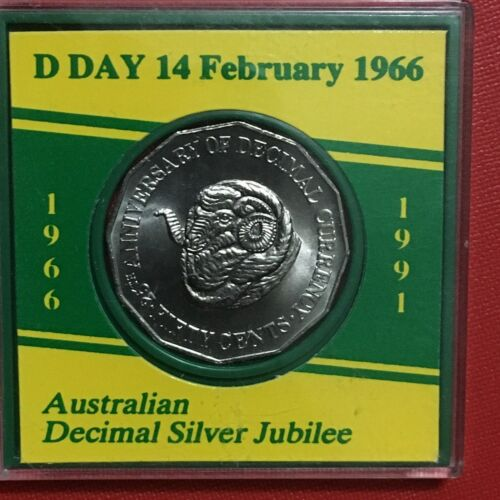 3231847//C7 CASED 1991 AUSTRALIAN 50 CENTS 25 Years Decimal Currency UNC
