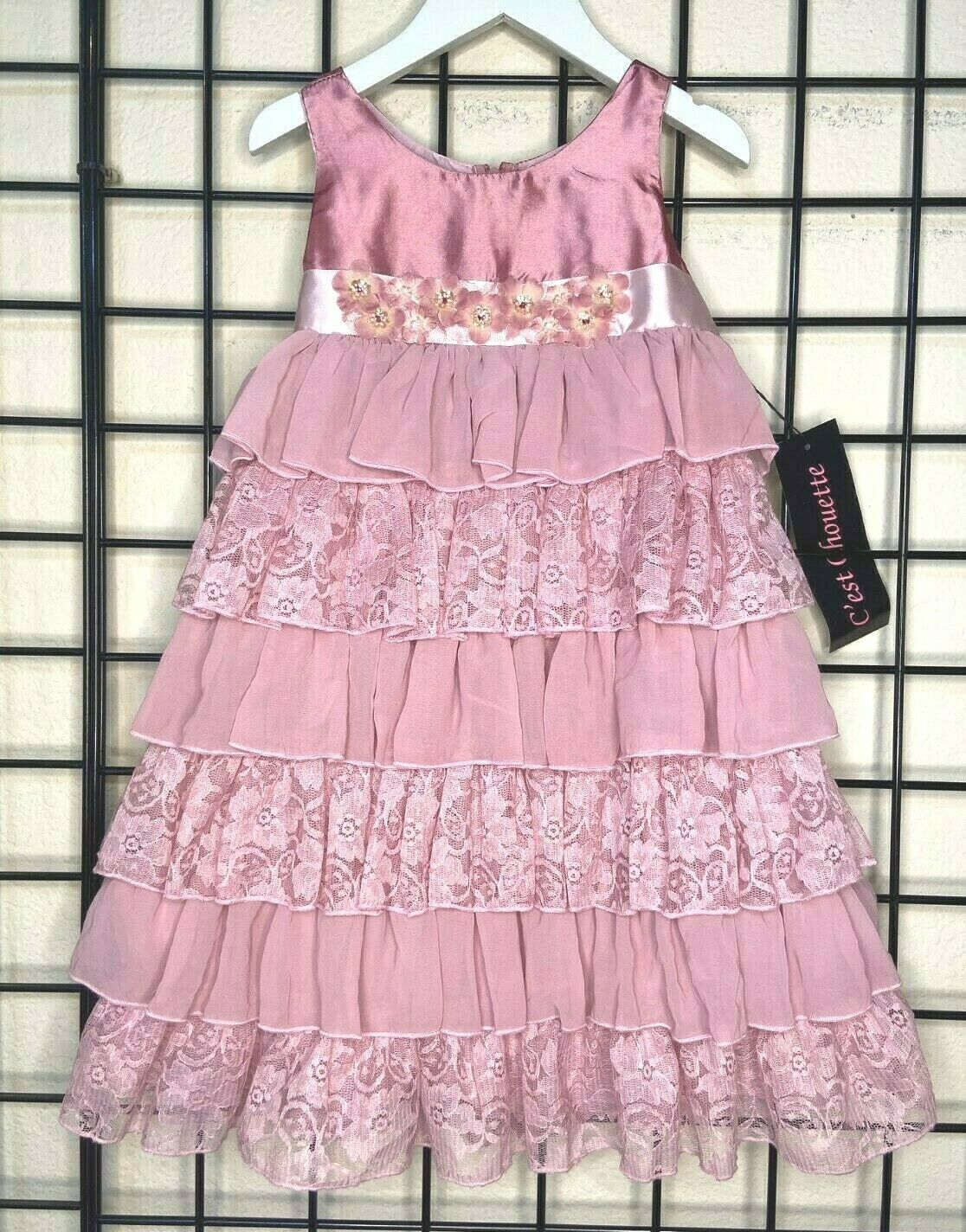 NEW NWT Mauve Pink Satin/Chiffon/Lace PLUSH Dress-C'est Chouette 4Y-fit 4/5Y