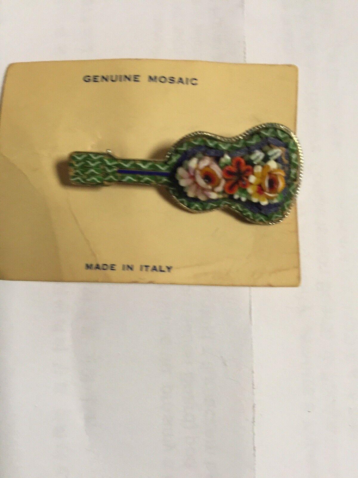 Vintage Micro Mosaic Guitar Mandolin Brooch Pin Made in