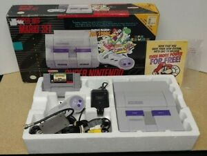 Super-Nintendo-SNES-Mario-World-amp-All-Stars-System-Console-In-Box-2-Complete-OEM