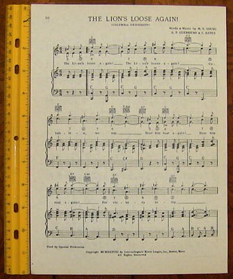 "STANFORD UNIVERSITY Vintage Song Sheet c1938 /""The Cardinal is Waving/"" Original"