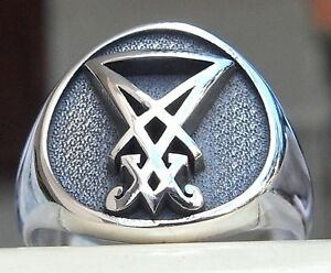 Details about Solid Sterling Silver 925 3D Sigil of Lucifer Seal of Satan  Gothic Ring All Size
