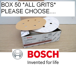 NEW-BOSCH-150MM-SANDING-DISCS-BOX-50-ALL-GRITS-HOOK-AND-LOOP-PLEASE-CHOOSE