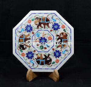 Image Is Loading 8 034 Marble Dish Plate Tiles Elephant Art
