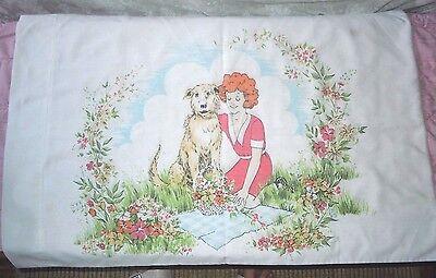 Vintage Standard Pillow Case Little Orphan Annie w/ Dog Cotton Blend EUC
