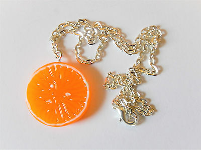 10pcs Orange Necklace Cute Retro Kitsch Fruit Chain Charm Pendant Wholesale Bulk