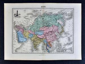 1877-Migeon-Map-Asia-China-Japan-India-Siberia-Korea-Tibet-Porcelain-Pagoda