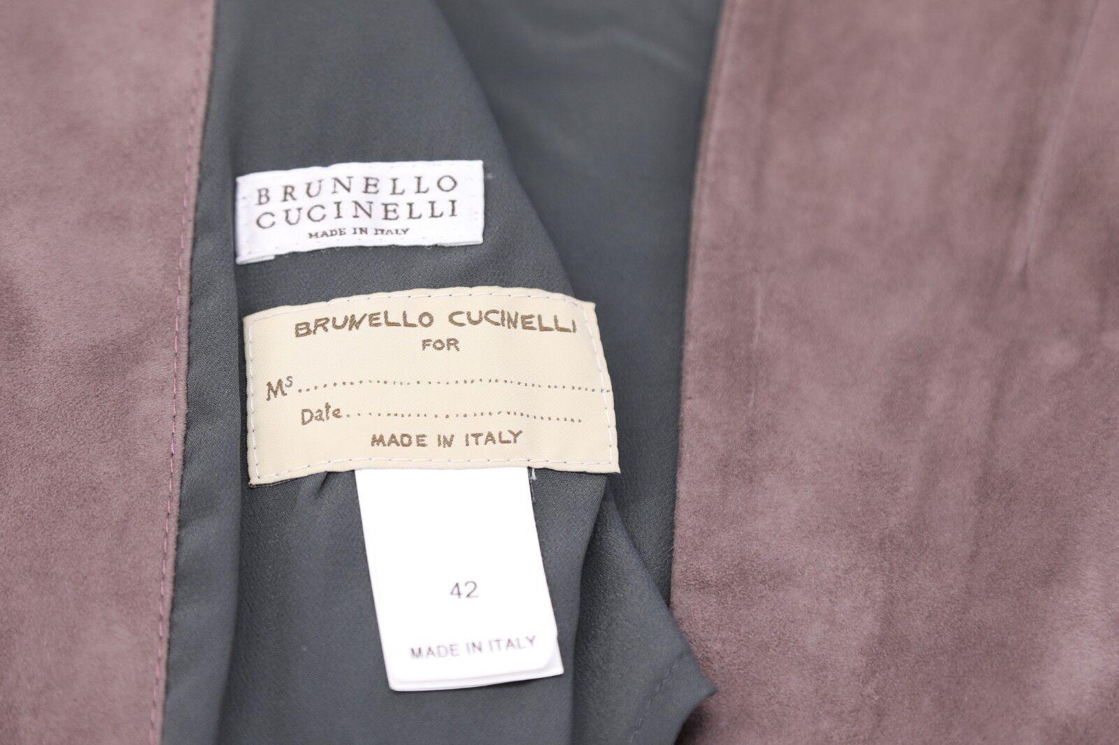 NWT 5275 Brunello Cucinelli Women Leather Suede Monili Bead Bead Bead Collar Vest 42M A186 be2f21