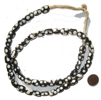 Polka Dot Batik Bone Beads Large 25mm Kenya African Black and White Round