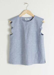 Size-UK-6-8-EU-36-Paris-Atelier-amp-Other-Stories-Blue-Linen-Blend-Scallop-Top