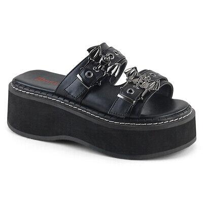 "Demonia 3.5/"" Platform Slingback Black Skull Fishnet Sandals Flip Flops Goth 6-10"