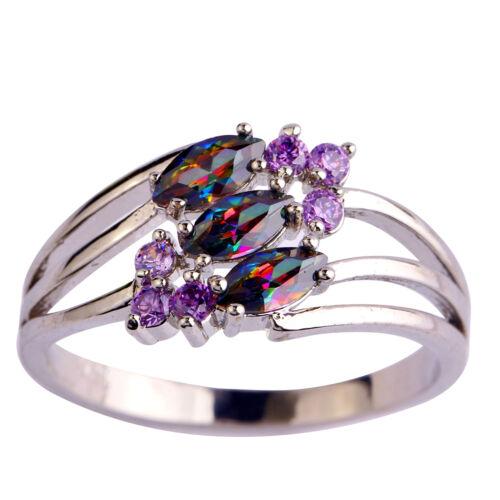 Women Rainbow Topaz Amethyst Fashion Jewelry Gemstone Silver Ring Size 6 7 8 9