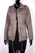 GJ4-31 H&M Damen Sommer Parka Jacke khaki grün Gr. 36 Baumwolle Army-Look