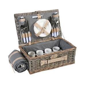 Picknickkorb-Set HWC-B24 für 4 Personen, Weiden-Korb, Porzellan, schwarz-weiß