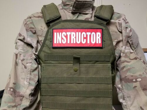 "3x8/"" INSTRUCTOR RED HOOK MORALE VEST PATCH POLICE MILITARY CONTRACTOR CHP CCW"