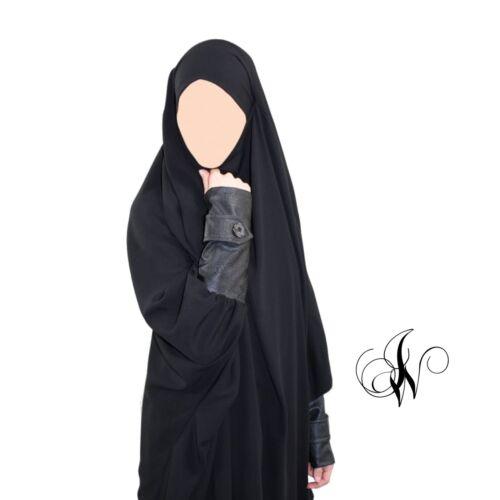 Jilbab all black leather effect new quality design