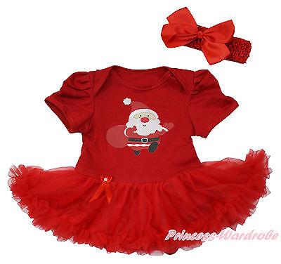 XMAS Santa Claus Hot Red Bodysuit Red Pettiskirt Girl Baby Dress NB-18Month