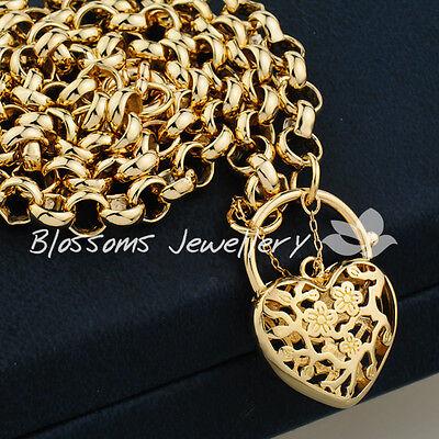 18K 18CT GOLD GF Heart PADLOCK Charm NECKLACE Belcher Ring CHAIN Ladies S32