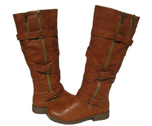 New Womens Riding Boots Tan Cognac LUG Soles Shoes Winter Snow Ladies size 6