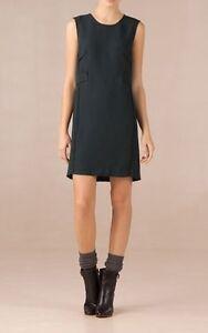 NEW-MASSIMO-DUTTI-Zara-Group-DEEP-GREEN-SHIFT-DRESS-WAIST-Detail-SMALL-6-8-UK