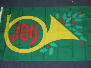NEW-3X5-JOY-FLAG-XMAS-FLAGS-CHRISTMAS-HORN-HOLLY-F654