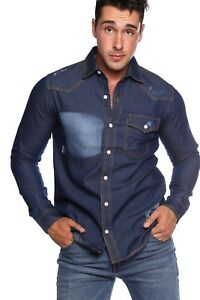 0d12f0bb389 Image is loading MENS-DISTRESSED-Casual-Slim-Fit-Long-Sleeve-DENIM-