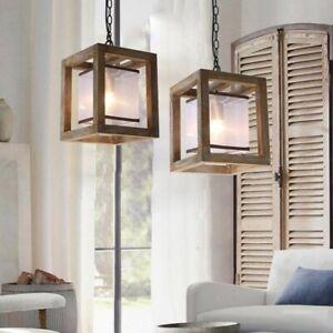 Farmhouse Wood Single Pendant Light Fixture Kitchen Hanging
