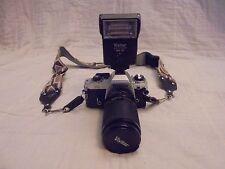 Vintage Nikon FG camera, Vivitar auto thyristor SMS 30 flash and lens 35-105 MM