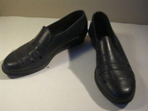Schuhe Leder schwarz Keilabsatz Größe 40 original Vintage